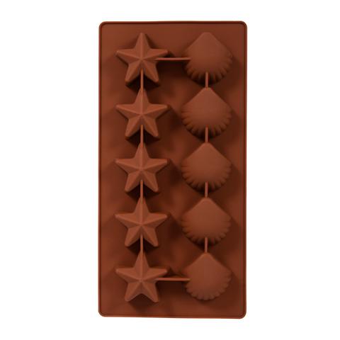 Форма из силикона «Звёздочки и ракушки» 21х10,5х2 см 10 ячеек