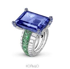 20327 - Кольцо из серебра с крупным сапфировым камнем