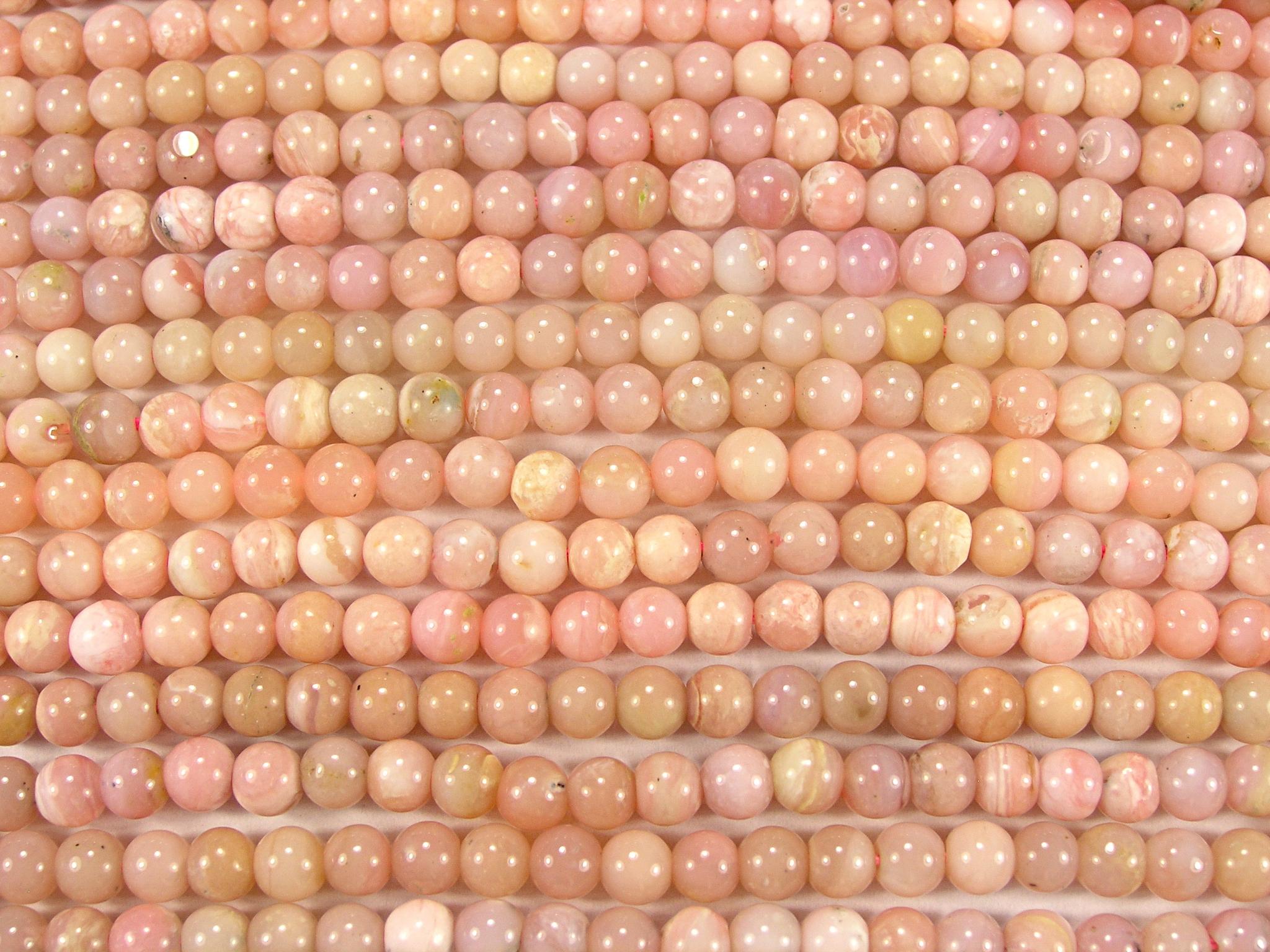 Нити бусин из опала розового, шар гладкий 4мм (оптом)