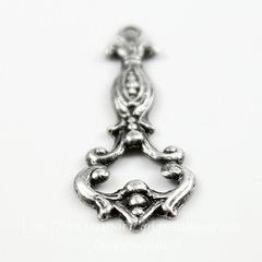 Винтажный декоративный элемент - подвеска 25х10 мм (оксид серебра)