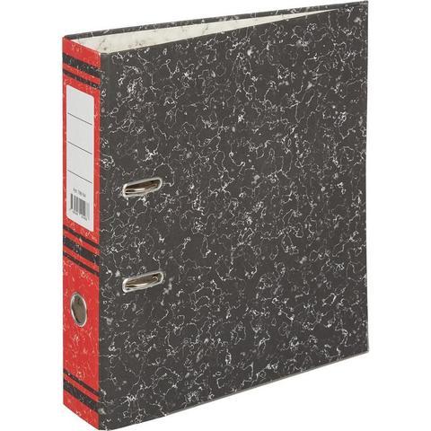 Папка с арочн.мех. 75 мм (+/- 5 мм)мрамор,мет.уг.,красный корешок