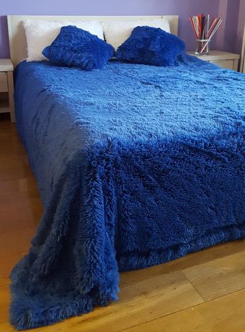 Плед с длинным ворсом,синий