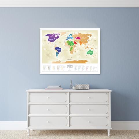 1DEA.me Скретч Карта Мира Gold, 80 × 60 см