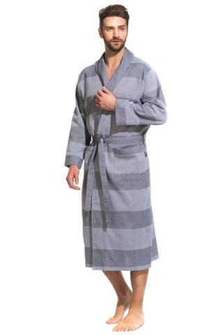 Легкий мужской халат из органического хлопка 417 серый  PÊCHE MONNAIE