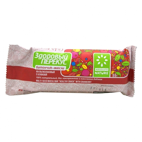 Батончик-мюсли Здоровый перекус с клюквой, 55 гр. (Диво-хлеб)