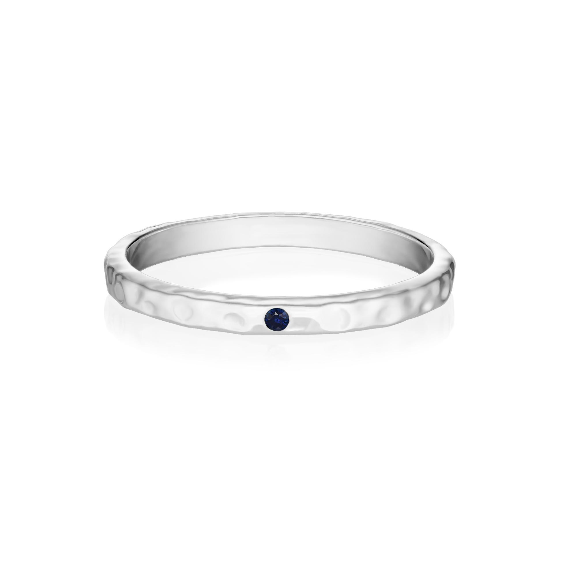 Кольцо GAMMA - Синий сапфир (белое золото)