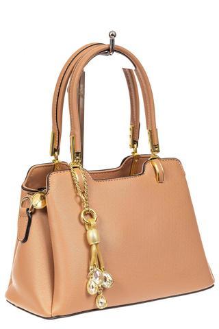 Женская сумка-трапеция из искусственной кожи с подвеской, цвет бежевый