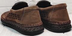 Удобные туфли слипоны мужские лето sport casual Luciano Bellini 91737-S-307 Coffee.