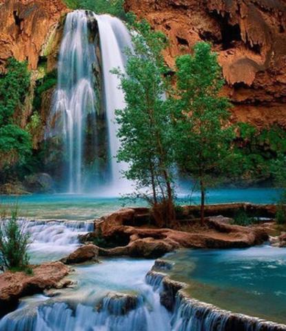 Алмазная Мозаика 30x40 Горный водопад (арт. HZM1124)