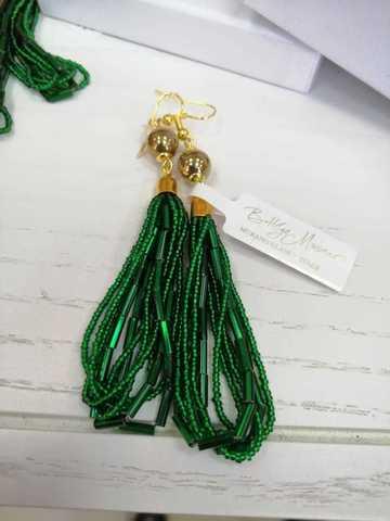 Серьги бисерные зеленые длинные №2