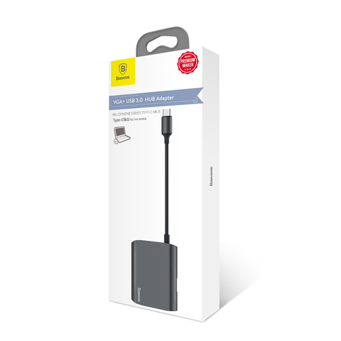 USB-концентратор Baseus Enjoyment series Type-C to VGA+ USB 3.0 HUB Adapter Gray(*)
