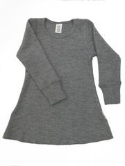 Платье с длинными рукавами ManyMonths, Серый меланж (шерсть мериноса 100%)