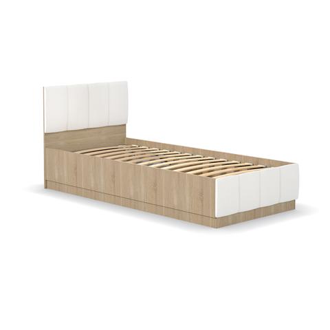 Кровать одинарная Линда 303 90 Моби 90х200 дуб сонома/белый