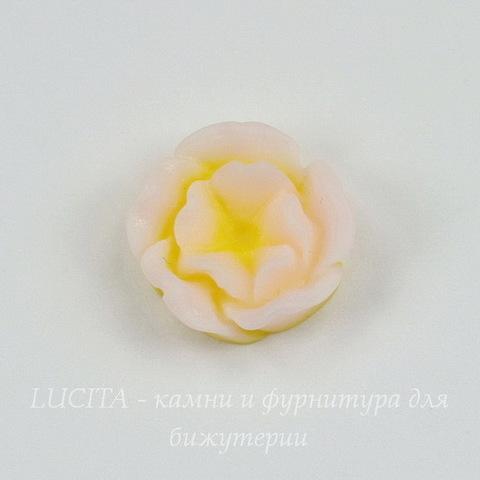 """Кабошон акриловый двухцветный """"Розочка"""", цвет - желтый, 13 мм"""