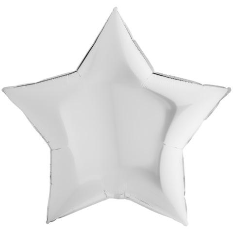 Воздушный шар звезда большая, Белая, 91 см