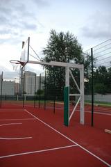 Стойка Г-образная баскетбольная уличная стационарная, вынос 325см. (щит 1800х1050мм. поликарбонат 10мм, амортизационное кольцо, сетка).