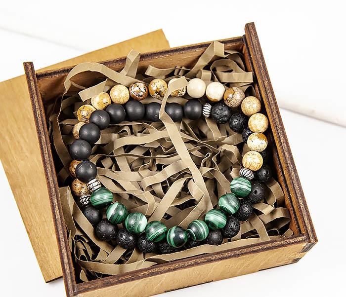 BS903 Двойной мужской браслет из разных камней фото 09