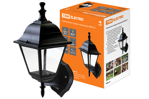 Светильник садово-парковый НБУ 04-60-001 четырехгранник, настенный, пластик, черный TDM