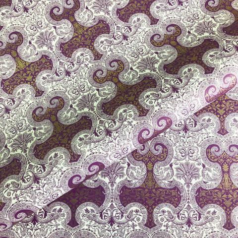 Бумага декоративная подарочная Парча пурпурная с золотом