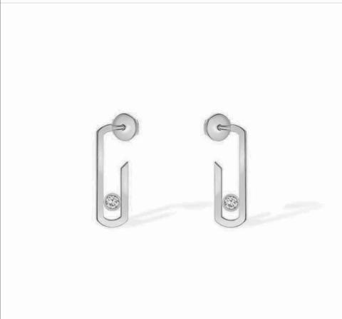 Серебряные серьги Move lux без вставок на основной части