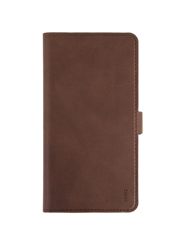Чехол Uniq Journa Heritage для iPhone 12 Pro Max | книжка карман магнит экокожа коричневый
