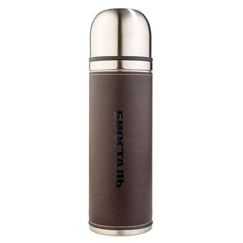 Термос Biostal Охота (0,5 литра) с кожаной вставкой, коричневый