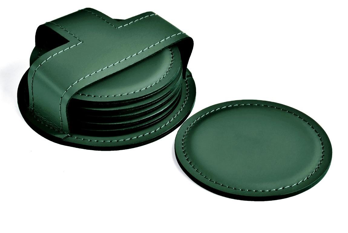 зеленые кожаные костеры в наборе