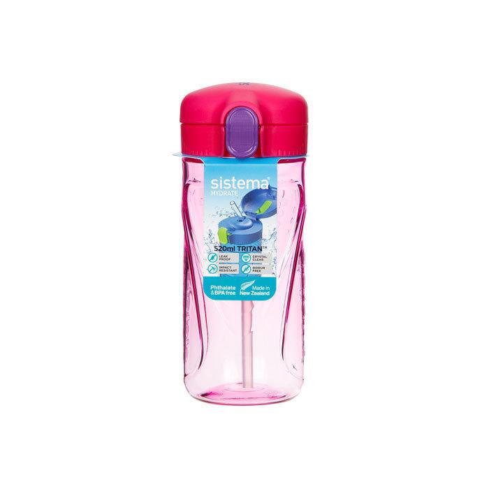 "Бутылка для воды с трубочкой Sistema ""Hydrate"", Тритан, 520 мл, цвет Розовый"