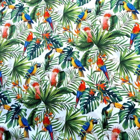 хлопок с тропическими листьями и птицами