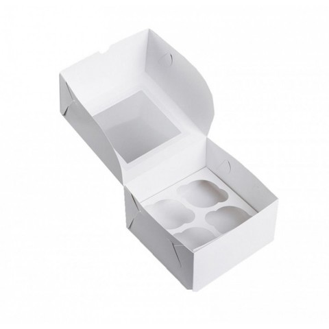 Коробка на 4 капкейка (белая)