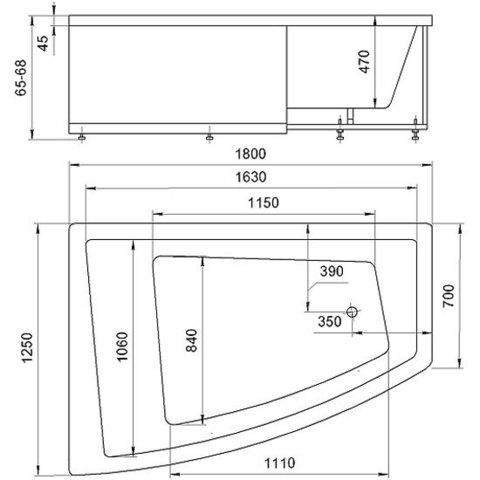 Ванна акриловая двухместная Aquatek Оракул 125/70х180см. на каркасе и сливом-переливом левая/правая схема