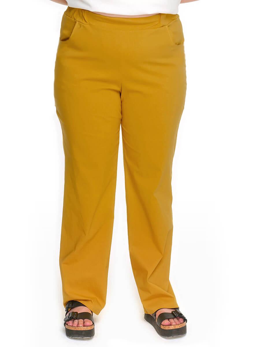 Прямые брюки янтарно-горчичные