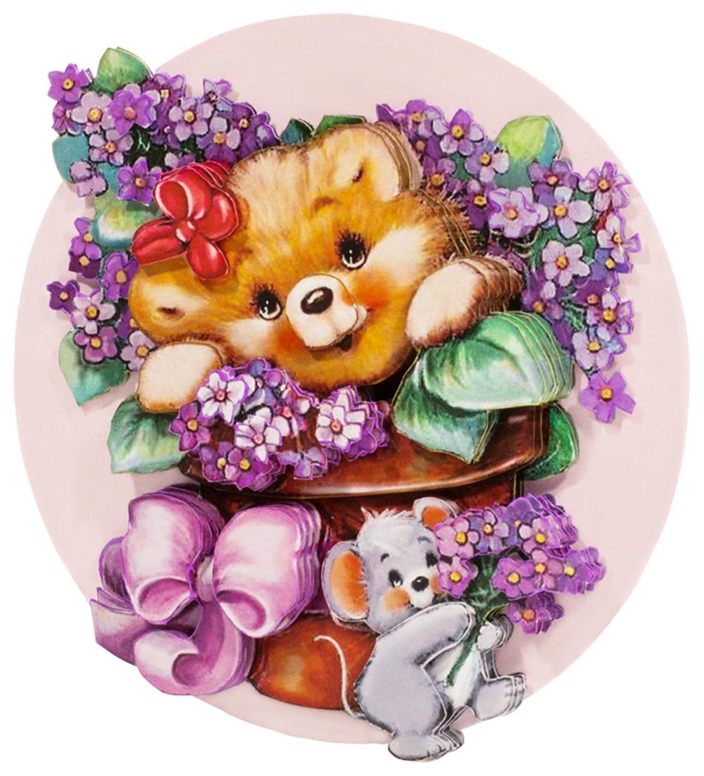 Папертоль Медвежонок с цветами — готовая работа, вид сбоку.