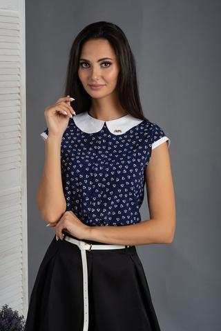Віта. Класична блуза з круглим коміром. Сині сердечка