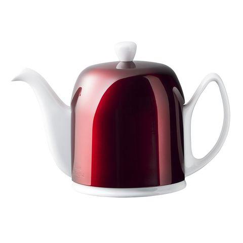 Фарфоровый заварочный чайник на 6 чашек с красной крышкой, белый, артикул 238934