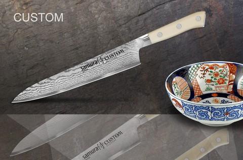 SCU-0045 Нож кухонный стальной для нарезки, слайсер Samura by Custom