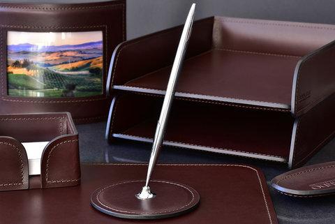 Подставка для одной ручки PREMIUM из кожи  Full Grain Brown/Cuoietto черный
