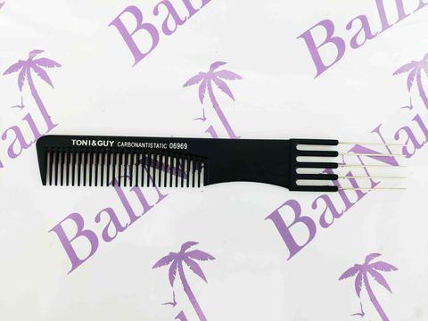 Расчёска профессиональная карбоновая антистатическая (5 зубцов металл), мод. 06969