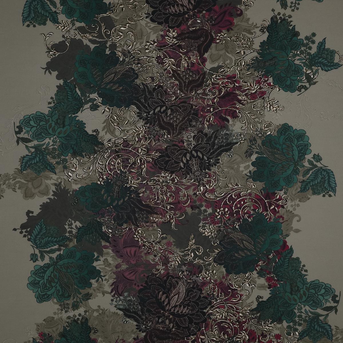 Батист с цветочным узором изумрудных и бордовых оттенков