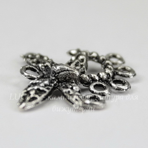 "Коннектор ""Стрекоза"" (1-5) 20х17 мм (цвет - античное серебро)"