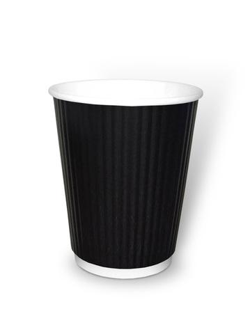 Стакан бумажный 2сл 350 (400) мл d=90мм черн., гофр.,вертикаль