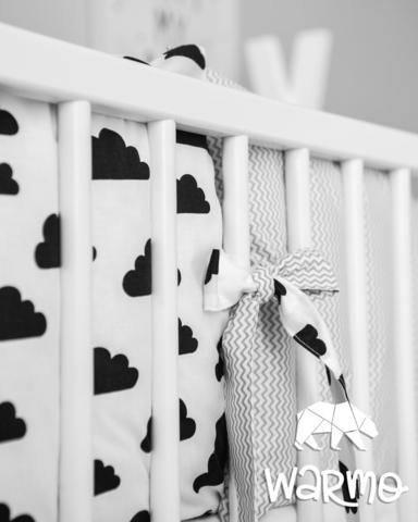 Набір бортиків-подушок в ліжечко 30x30см ХМАРИНКИ (ЗИГЗАГ СІРИЙ)