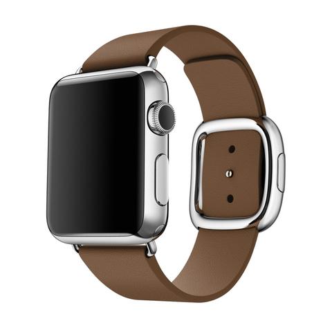 Ремешок Apple watch 38mm Modern Buckle Leather silver /brown/