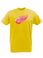Футболка с принтом НХЛ Детройт Ред Уингз (NHL Detroit Red Wings) желтая 001