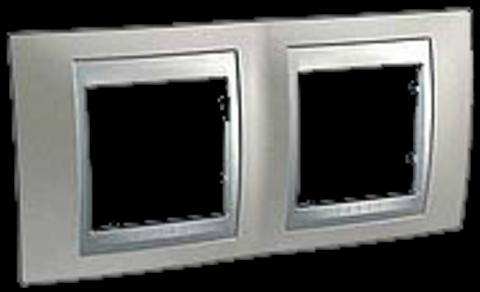 Рамка на 2 поста. Цвет Никель-алюминий. Schneider electric Unica Top. MGU66.004.039