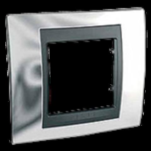 Рамка на 1 пост. Цвет Хром глянцевый-графит. Schneider electric Unica Top. MGU66.002.210