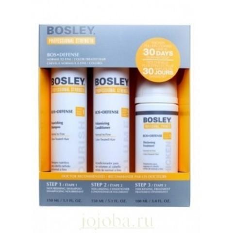 Bosley PRO Defense Желтая линия: Система желтая для нормальных и тонких окрашенных волос (Starter Pack For Fine Color-Treated Hair), 150мл/150мл/100мл