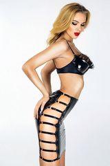 Эротичная лакированная юбка мини с ремешками