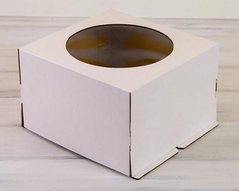 Коробка для торта с окном, 36*36*26см (белая) гофрокартон