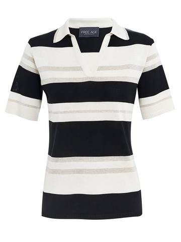 Женская футболка черно-белого цвета в полосу из шелка и вискозы - фото 1